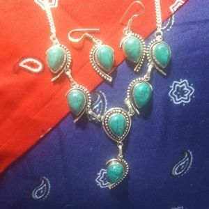 Turquoise and Sterling Necklace Set